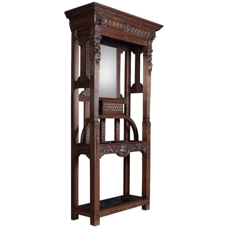 Gothic Carved Oak Hall Stand