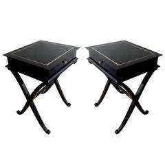 "Maurice Hirsch Stamped ""x"" Shaped Black Lacquered Side Tables or Bedsides"