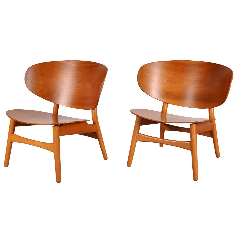 Pair of Hans J Wegner Shell Chairs model FH 1936 circa 1950 at