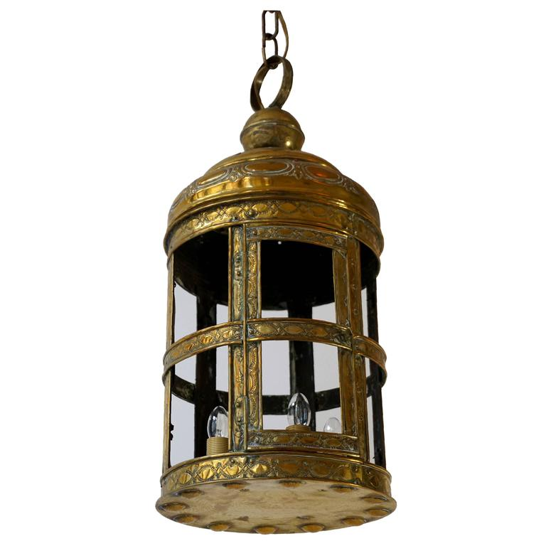 Antique Arts and Crafts Large Brass Lantern