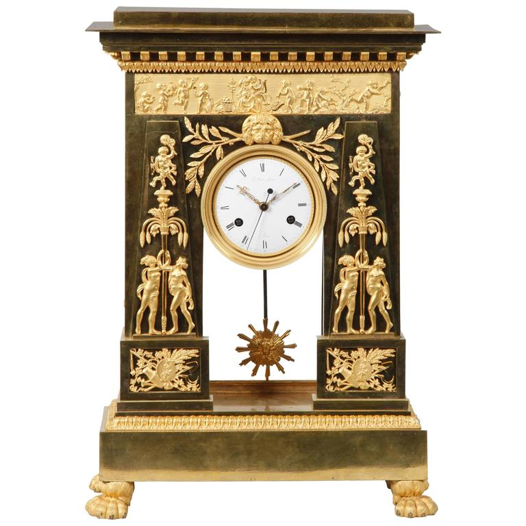 Large and Important Empire Period Ormolu Mantel Clock by Deverberie For Sale