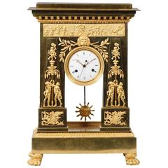 Large and Important Empire Period Ormolu Mantel Clock by Deverberie