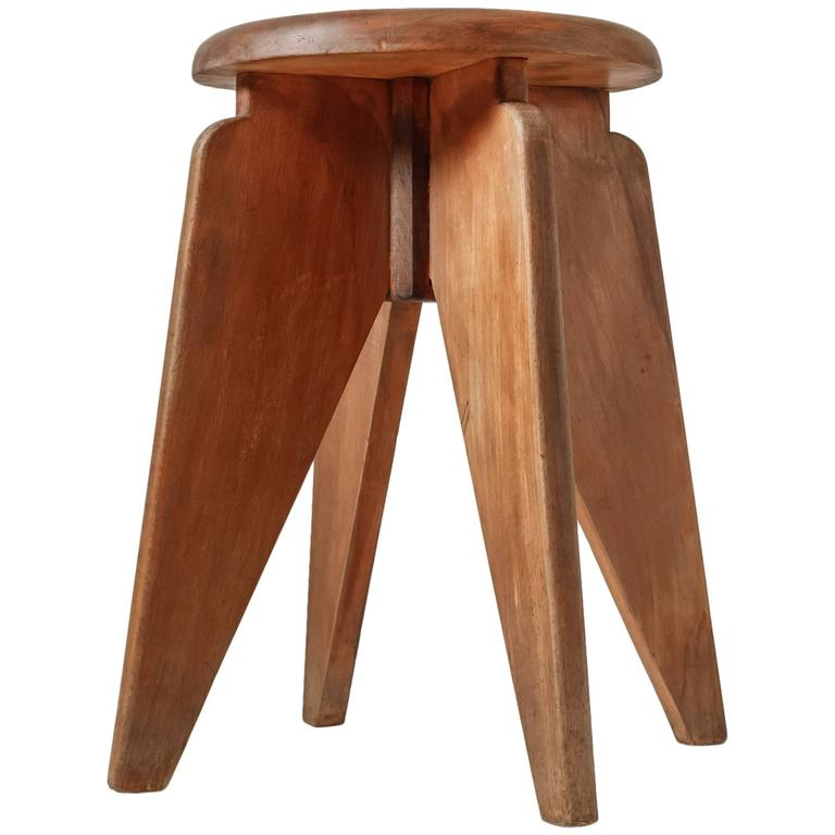 French Modernist Wooden Compass Feet Stool 1950s At 1stdibs