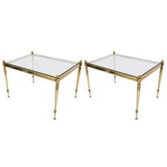 Pair of Side Tables Brass and Glass