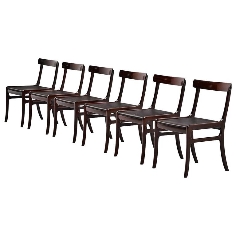 Ole Wanscher Rungstedlund chairs in Mahogany Denmark 1950 1