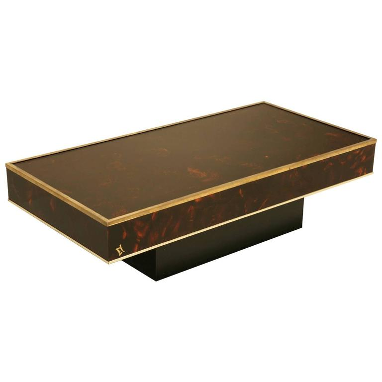 Modern French Coffee Table: Mid-Century Modern French Faux Tortoise Coffee Table For