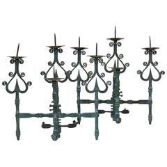 Fabulous Pair of Large Wrought-Iron Sconces, France, Late 1800s