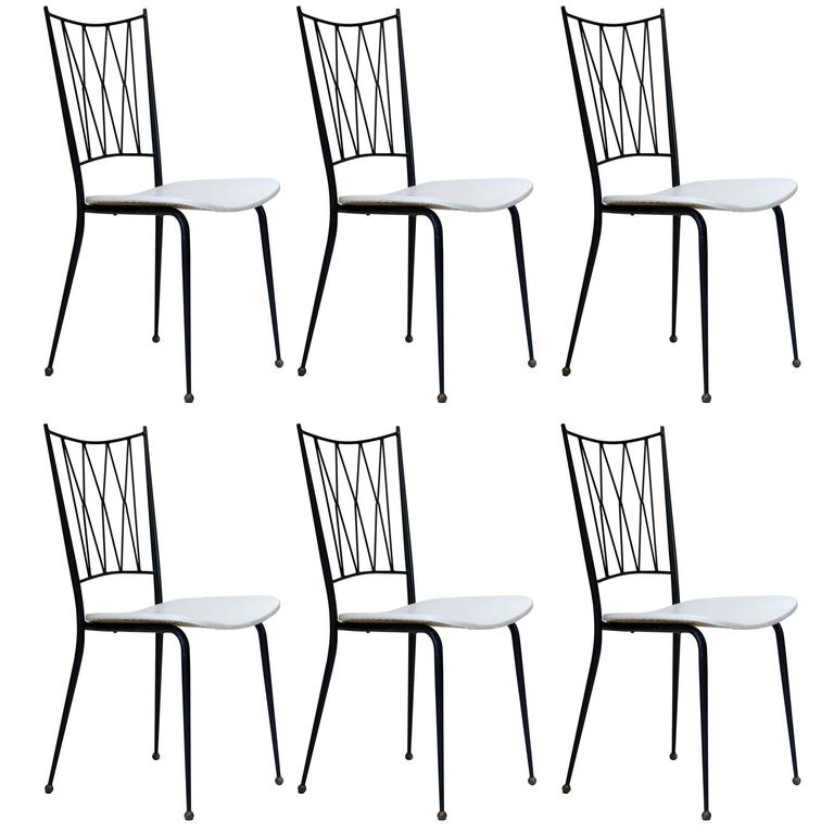 Six Stylish 1950s French Dining Chairs