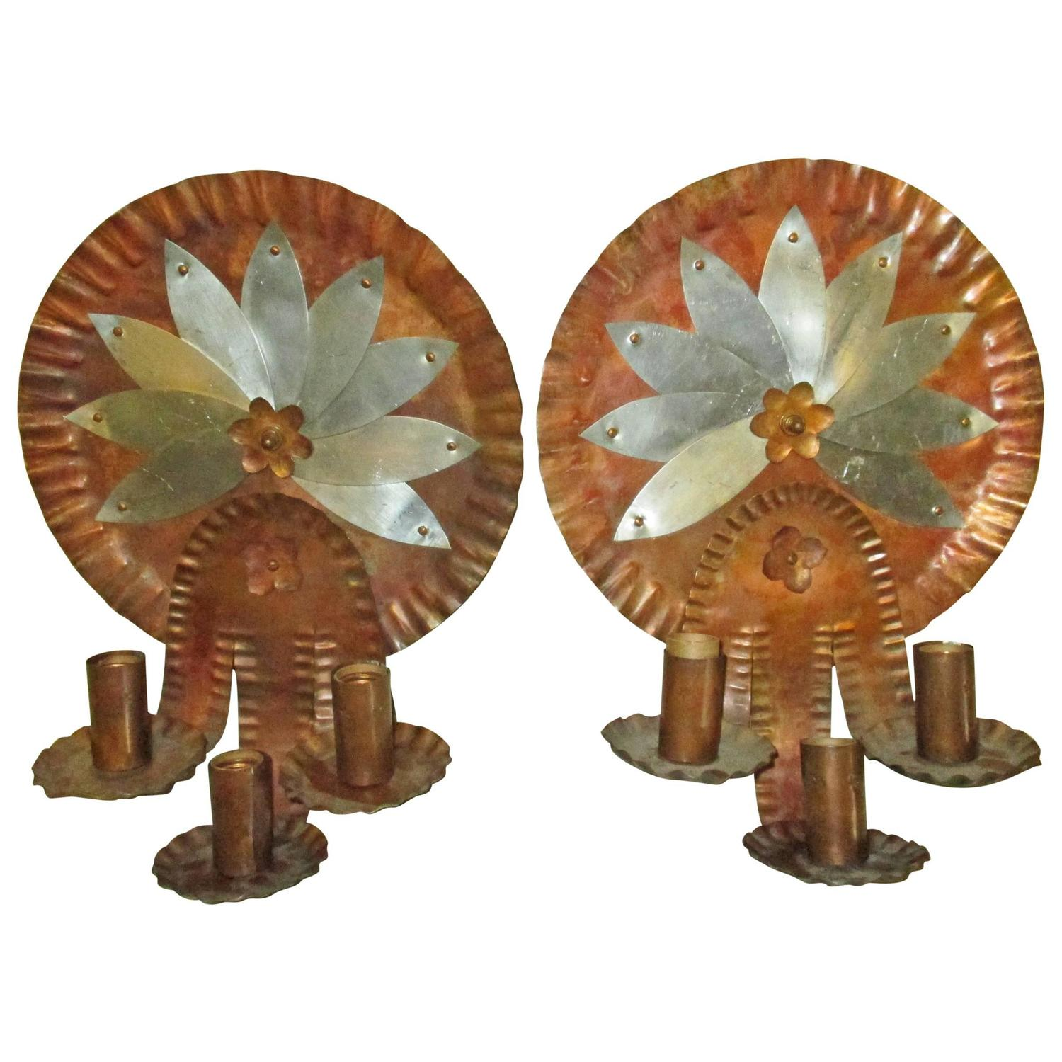 Arts and Crafts Southwestern Copper and Aluminum Pair of Electric Sconces, 1920s at 1stdibs