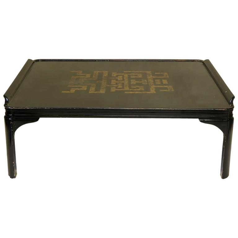 Large Square Chinese Art Deco Style Coffee Table Circa