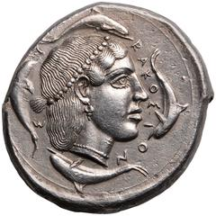 Ancient Greek Silver Tetradrachm Coin from Syracuse Sicily, 450 BC