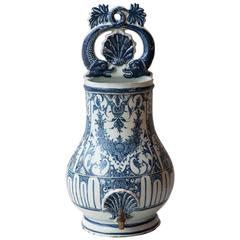 18th Century Rouen Blue And White Faience Wall Fountain