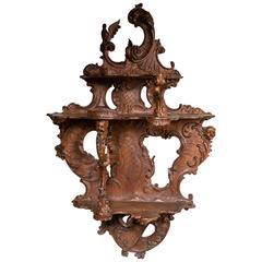 Carved Walnut Three-Shelf Italian Rococo Wall Bracket