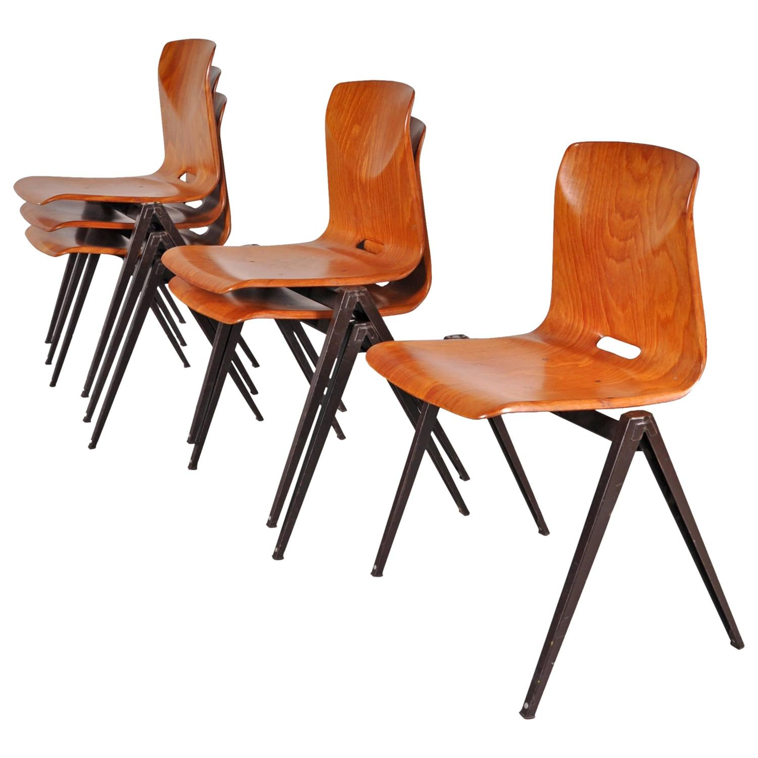 Stock of Galvanitas S22 Stackable Dining Chairs circa 1970