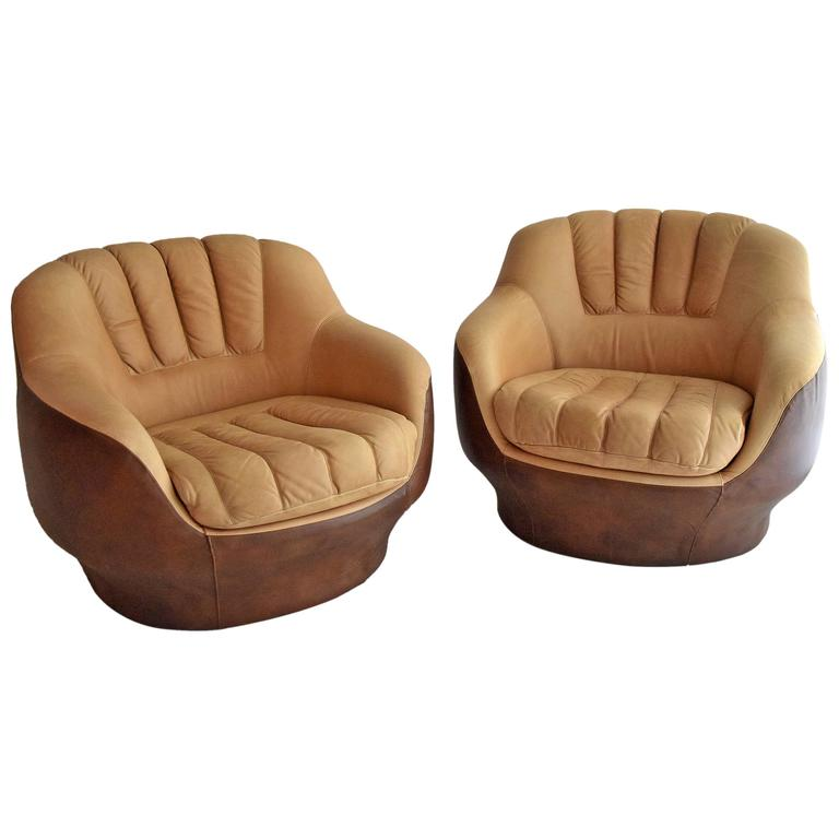 Mid Century Modern Lounge Chairs in the Style of the Sede