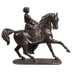 Antique Equestrian Statue of the Young Queen Victoria