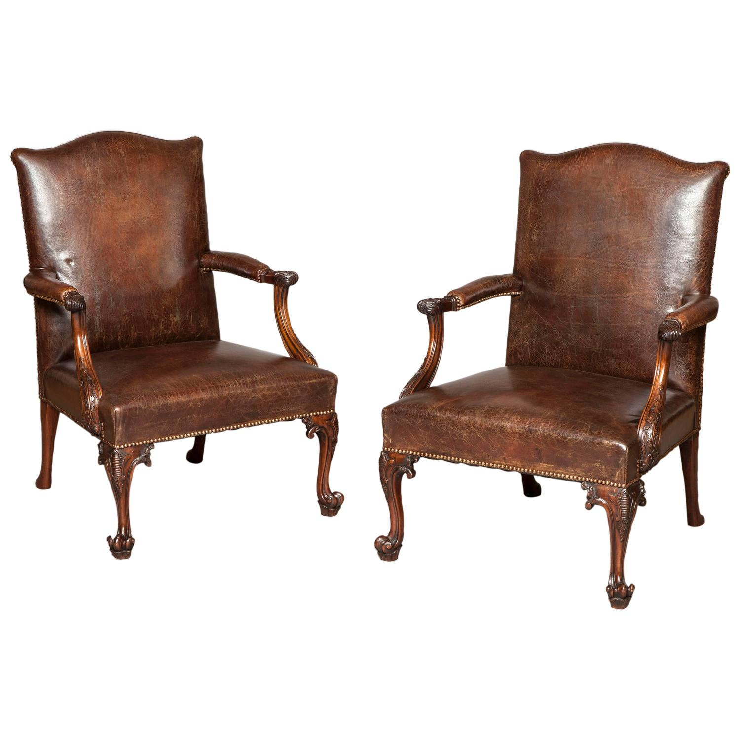 Pair Of Antique Gainsborough Library Armchairs At 1stdibs