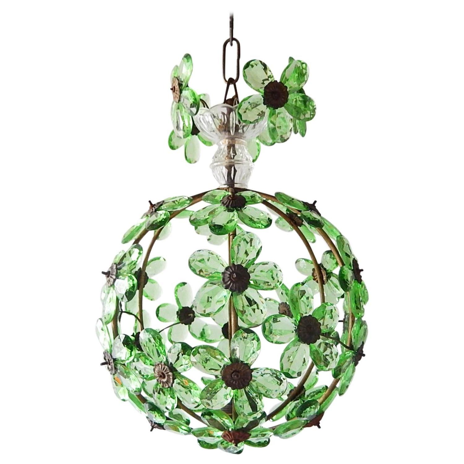 French Bagues Crystal Green Prisms Floral Ball Chandelier ...