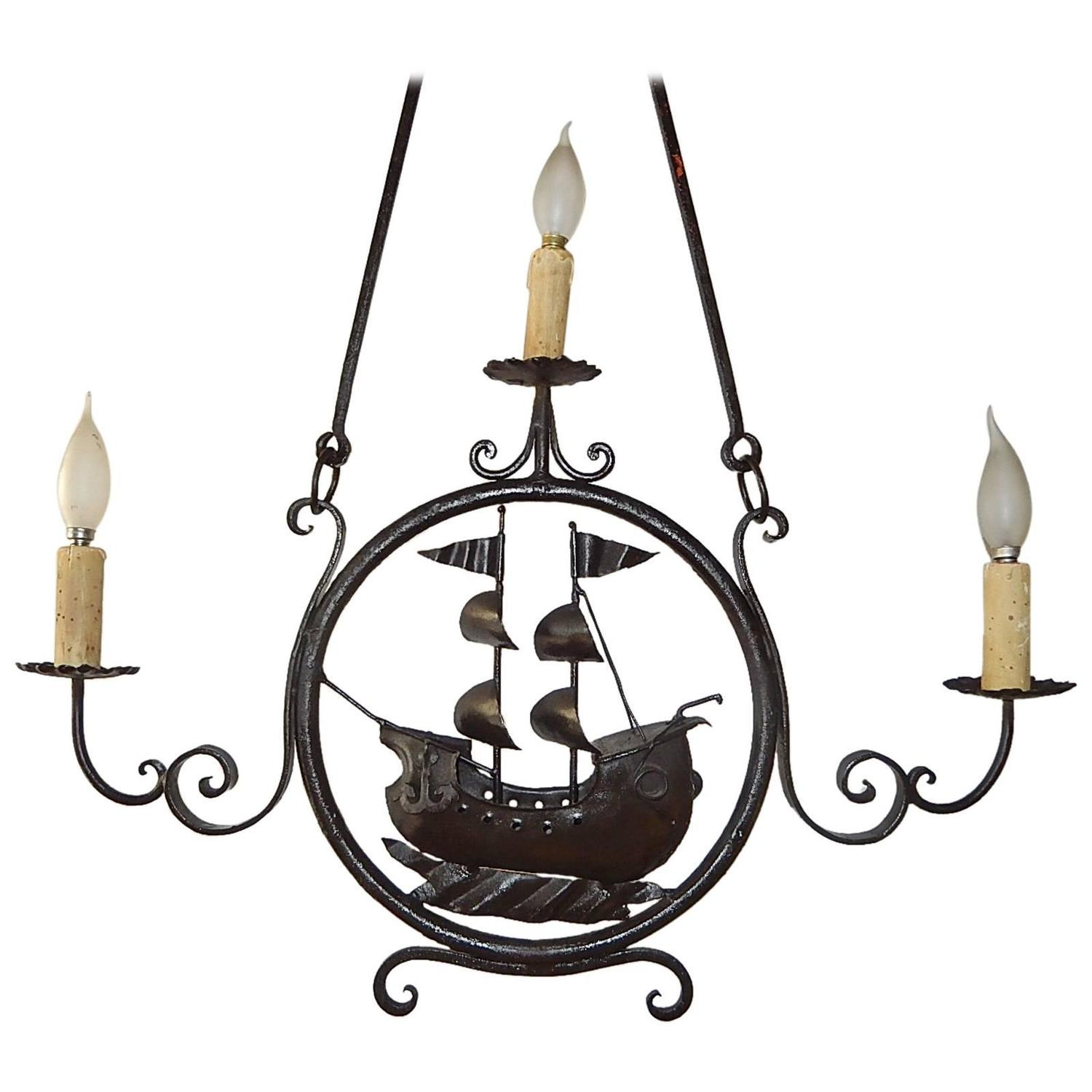 1870 Italian Wrought Iron Nautical Ship Boat Chandelier For Sale