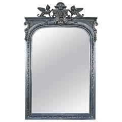 19th Century Large French Silver Gilded Mirror
