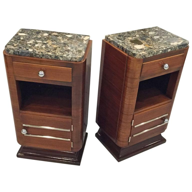 Pair of French Art Deco Night Tables with Marble Tops