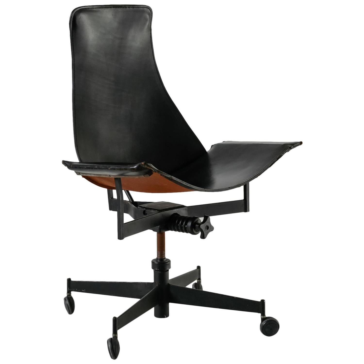 William Katavolos Swiveling Black Leather Sling Chair Usa