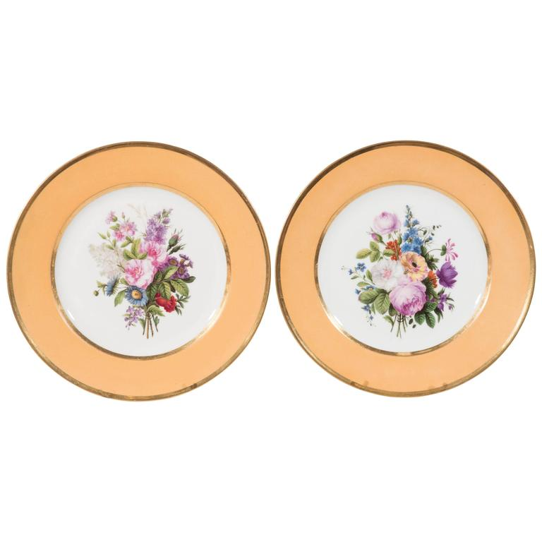 Pair Sèvres Dishes Hand-Painted with Bouquets of Flowers and an Apricot Border For Sale