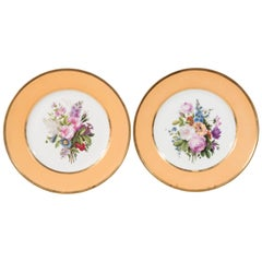 Pair Sèvres Dishes Hand-Painted with Bouquets of Flowers Made circa 1814-1824