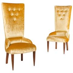 Pair of Gilded Velvet 1950s Italian Armchairs