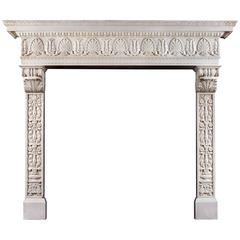 Grand Statuary Marble Antique Italian Renaissance Style Fireplace Mantel