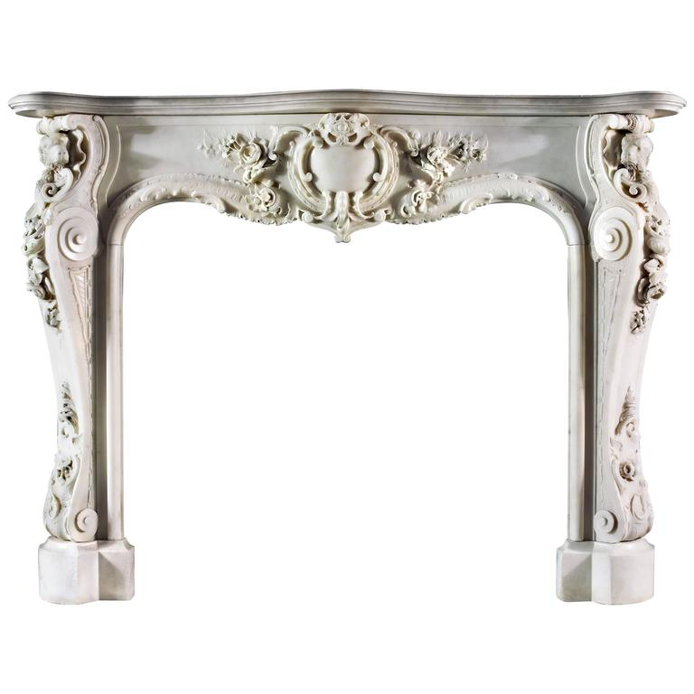 Very Rare and Important Mid-18th Century English Rococo Marble Fireplace Mantel