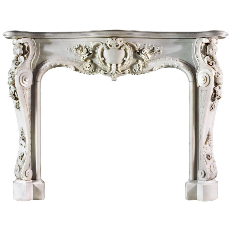 Very Rare and Important Mid-18th Century English Rococo Marble Fireplace Mantel For Sale