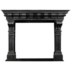 Late 19th Century Antique Fireplace in Polished Belgian Blue Fossil Stone