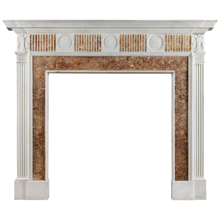 Georgian Fireplace Mantel in Statuary and Spanish Brocatelle Marble For Sale