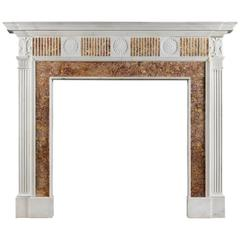 Georgian Fireplace Mantel in Statuary and Spanish Brocatelle Marble