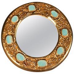 Jewel Mirror in Enameled Ceramic Signed Francois Lembo - Ecole de Vallauris