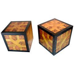1970s Pair of Cubes in Black Bakelite