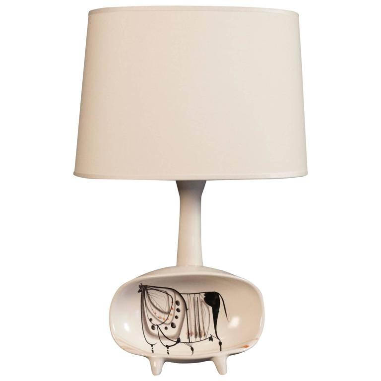 Handmade table lamp with a bull decor signed capron vallauris at 1stdibs - Handmade table lamp ...