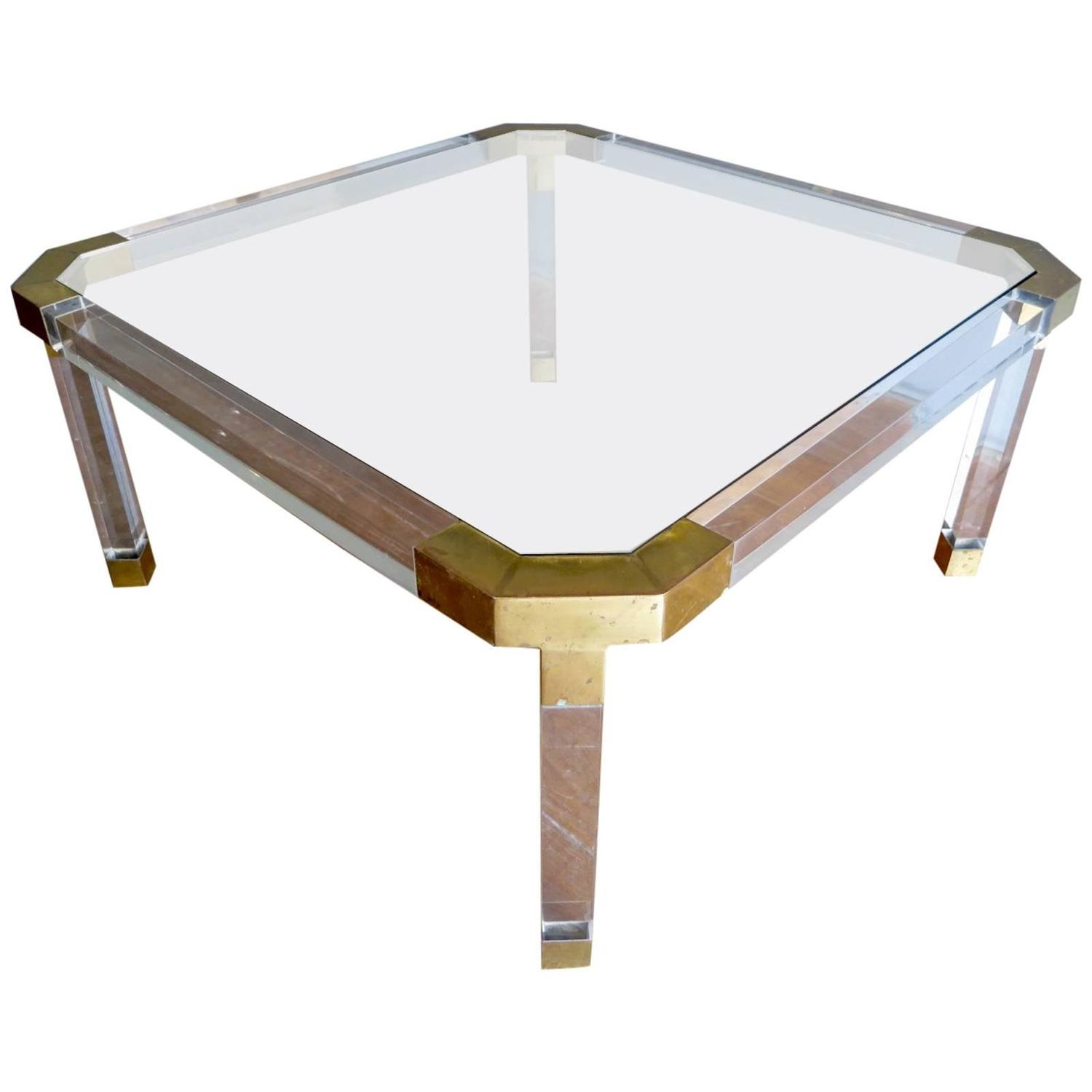French brass and lucite coffee table at 1stdibs for Lucite and brass coffee table