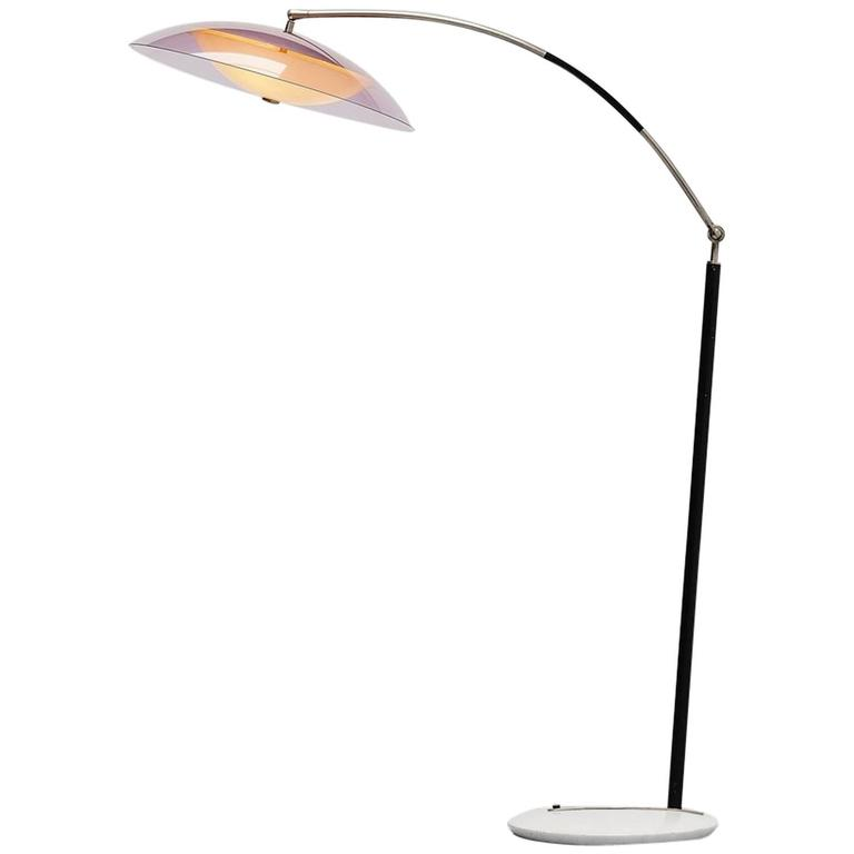 Stilux arc floor lamp in plexi and marble Italy 1960