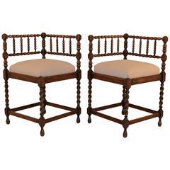 19th Century Pair of French Corner Chairs