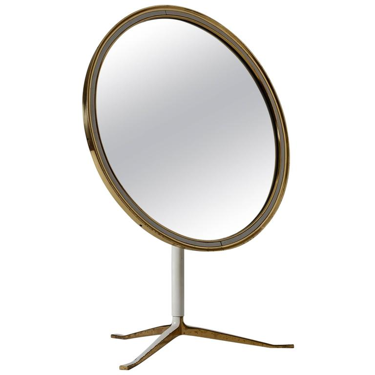 Round Brass and White Console or Vanity Mirror, Germany, 1950s