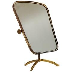 Brass Tilting Console Mirror with White Inside Rim, Germany, 1950s