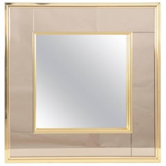 Marvellous Square Two-Toned Mirror in Brass Frame
