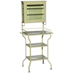 Pale Green Enamel & Glass Storage Cabinet with Five Optical Glass Shelves, 1920s