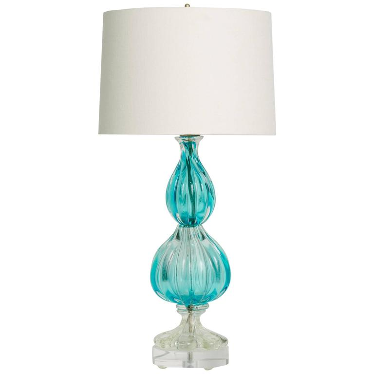 vintage blue murano glass lamp on lucite base for sale at 1stdibs. Black Bedroom Furniture Sets. Home Design Ideas