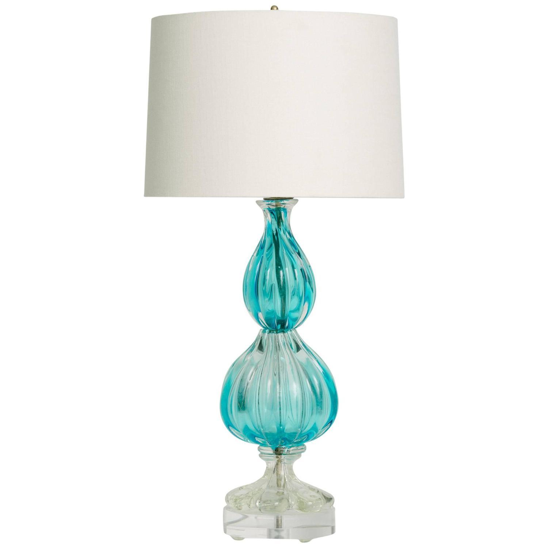 vintage blue murano glass lamp on lucite base for sale at 1stdibs. Black Bedroom Furniture Sets. Home Design Ideas