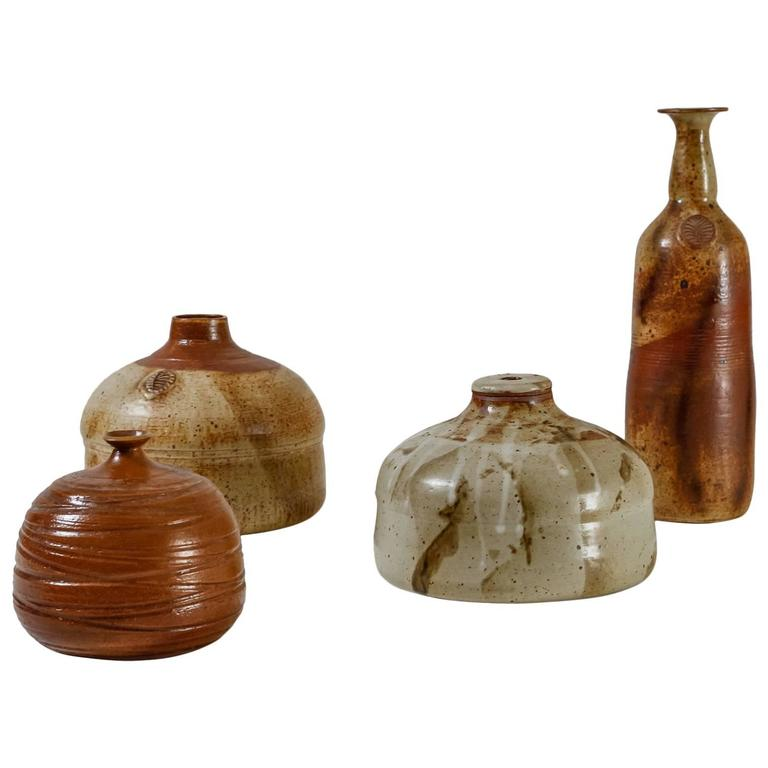 Franco Agnese Collection of Four Ceramic Vases, France, 1960s For Sale