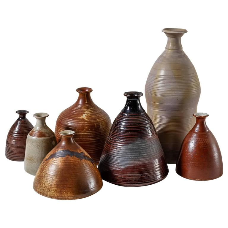 Franco Agnese Collection of Seven Ceramic Vases, France, 1960s For Sale