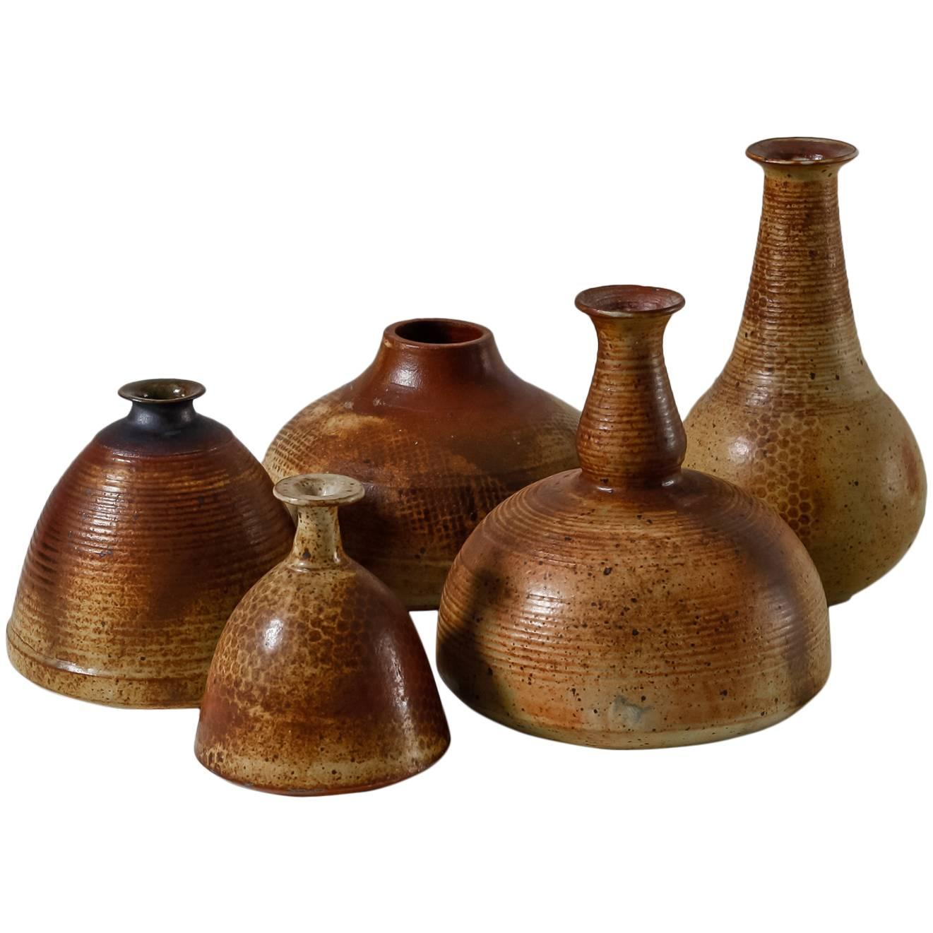 Franco Agnese Collection of Five Ceramic Vases, France, 1960s